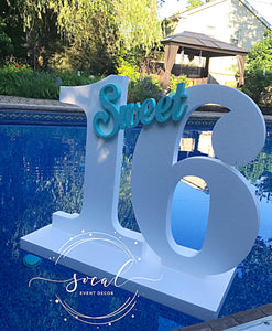 Pool Party Decoration Floating Prop Giant Numbers or Letters Sweet 16, Wedding, 1st Birthday, Anniversary