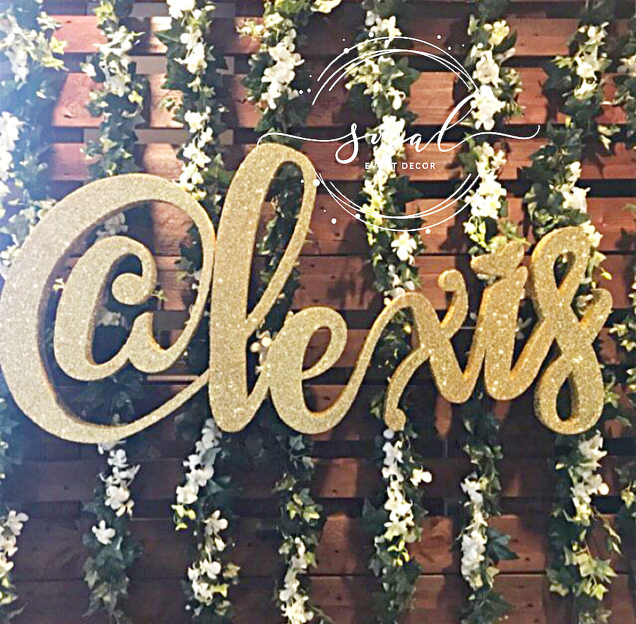 Custom Script Name for wall hanging, Candle Lighting Ceremony Centerpiece, Sign in Board, Candy Buffet. Sweet 16, backdrop, Nursery, Quince, Mitzvah