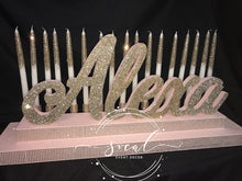 Load image into Gallery viewer, Rose Gold SWEET 16 Candelabra, Blush and Champagne Candle lighting ceremony, Quince or Mitzvah Candlelighting Ceremony