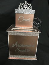 Load image into Gallery viewer, Gorgeous Custom Card Box - Two-Tiered with rhinestone tiara,  glitter lid and bling!