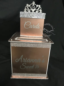 Gorgeous Custom Card Box - Two-Tiered with rhinestone tiara,  glitter lid and bling!