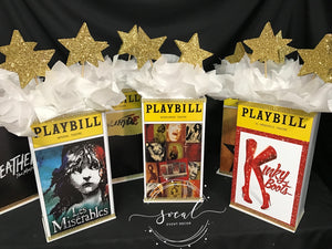 Theatre, Playbill and Entertainment Themed Centerpieces for Sweet 16, 21st, 30th, 40th, 50th Birthday Party