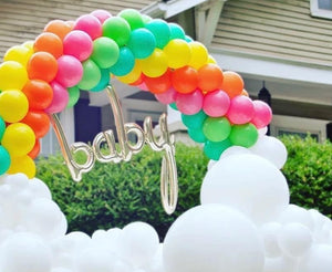 Rainbow Balloon Arch with saying and clouds