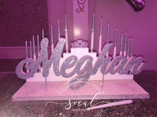 Load image into Gallery viewer, Step tiered Sweet 16, Quince or Mitzvah Candle lighting Ceremony Candelabra with glitter candles