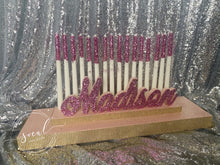 Load image into Gallery viewer, Sweet 16 Candelabra, Quince or Mitzvah Candle Lighting Ceremony Candle Board