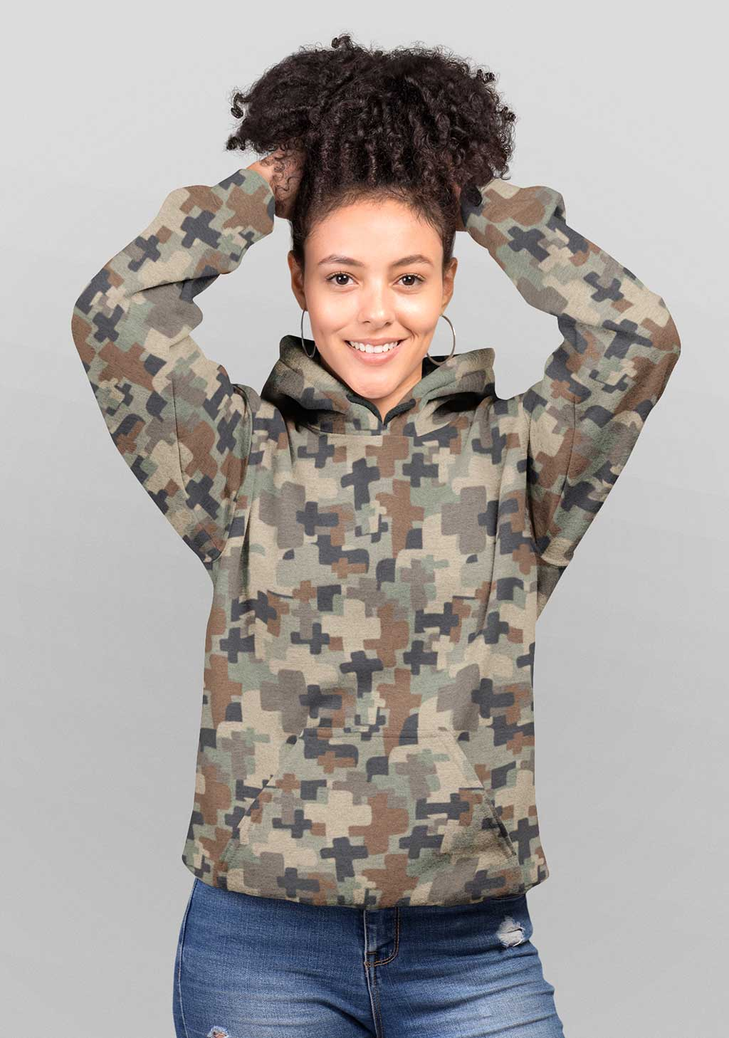 Debby and David Unisex Cross Camo Hoodie
