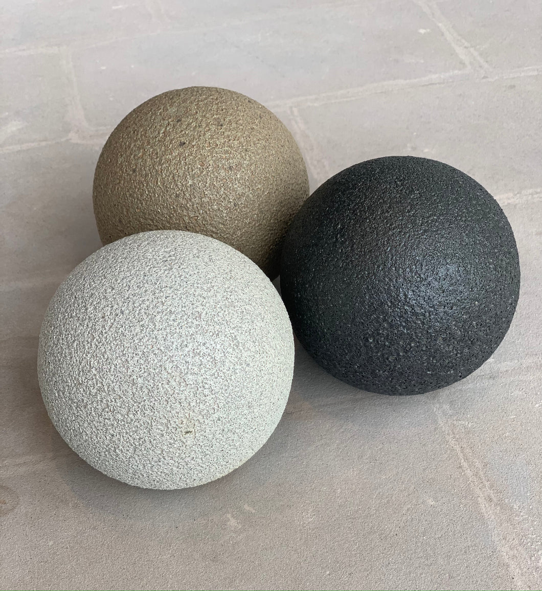 Fire pit orbs  in 3 colors: sand, white ash, & charcoal