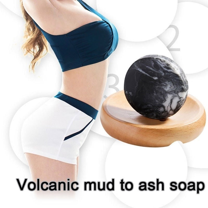 Volcanic Clay Coffee Slimming Soap Bar Body Whitening Anti Bacterial Navel Sticker Skin Care