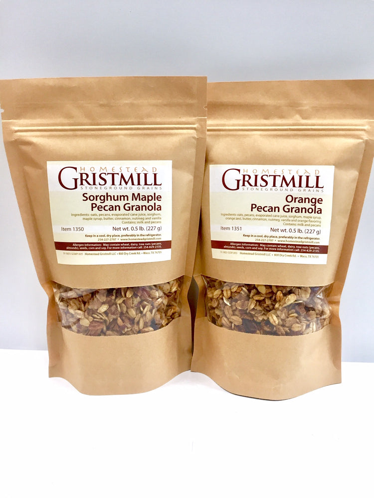 Homestead Gristmill — Non-GMO Sorghum Maple Pecan Granola/ Orange Pecan Granola (2 Pack)