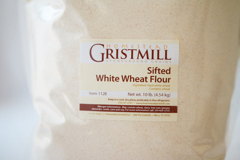 Homestead Gristmill — Stoneground Sifted White Wheat Flour (10 lb) Milled from Certif Organic Wheat