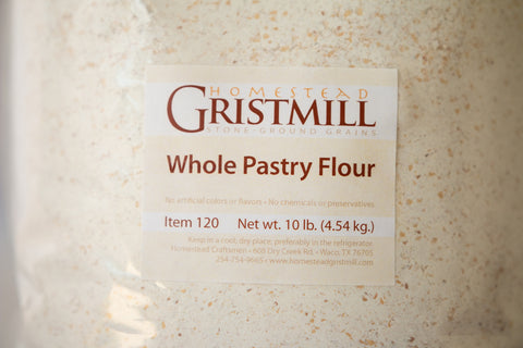 Homestead Gristmill — Stoneground Whole Pastry Wheat Flour (10 lb) Milled from Certif. Organic Wheat