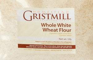 Homestead Gristmill — Stone-ground Whole White Wheat Flour (5 lb), Artisanally Milled from Certified Organic Hard White Wheat Berries