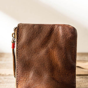 Men Women' Handmade Ultra-thin Zip Card Holder Wallets