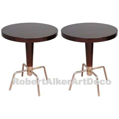 A Pair of French Round Side Tables, Art Deco period