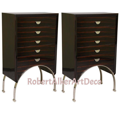 A Pair of Art Deco Chest of Drawers in Macassar and Walnut