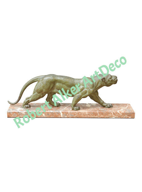 Art Deco Panther Sculpture on Marble, D.H. Chiparus