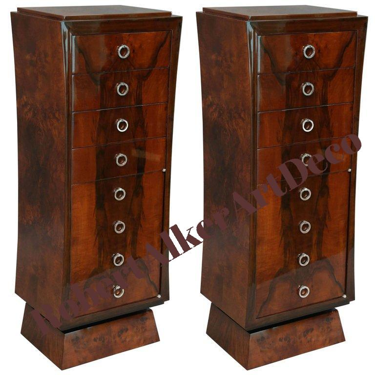 Pair of Art Deco Chests of Drawers in Walnut