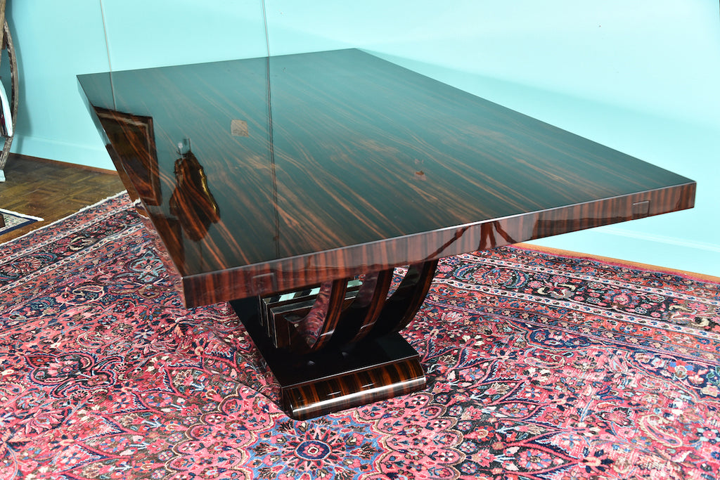 Art Deco French Dining Table in Macassar