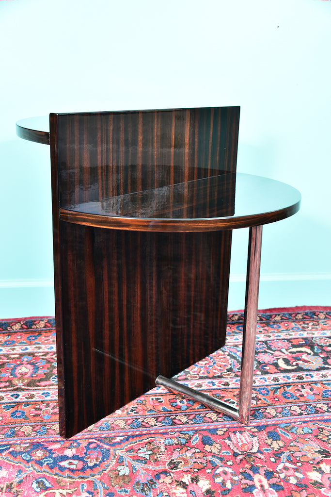 Art Deco French Side Tables in Walnut with Chrome