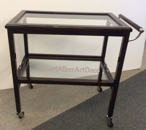 Walnut and Glass Bar Cart with One Handle