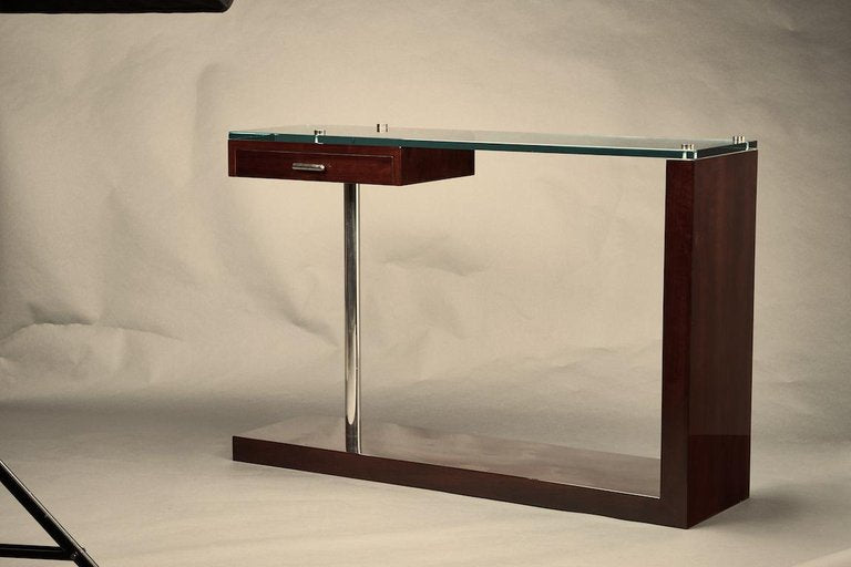 Mid-Century French Console in Walnut