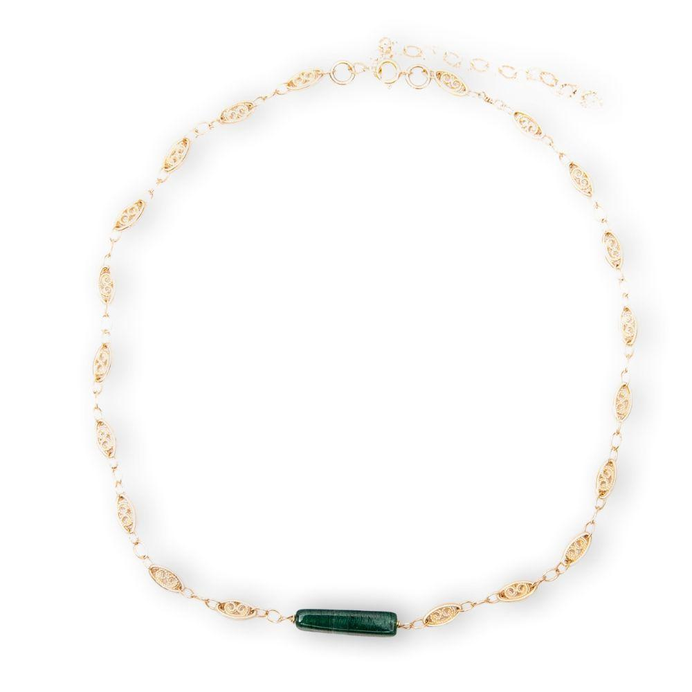 Gold necklace with aventurine stone