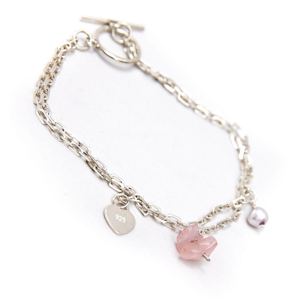 Double silver bracelet with quartz rose stones and pearl