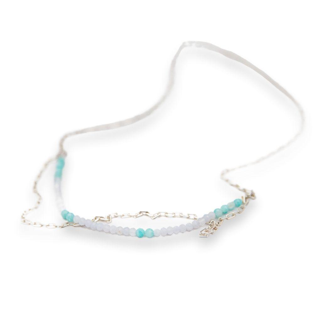 Double silver necklace with Amazonite stones and lace roar