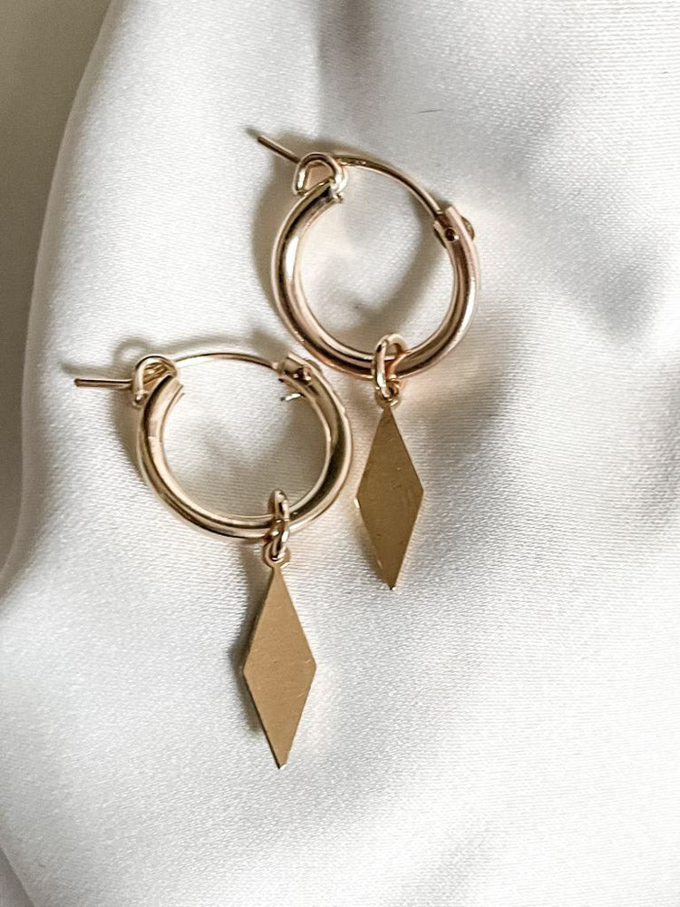 Gold/silver diamond earrings
