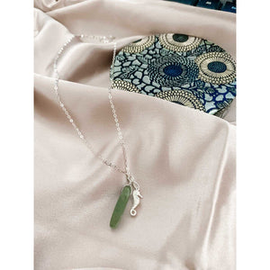 Silver chain with wal horse pendant and aventurine stone