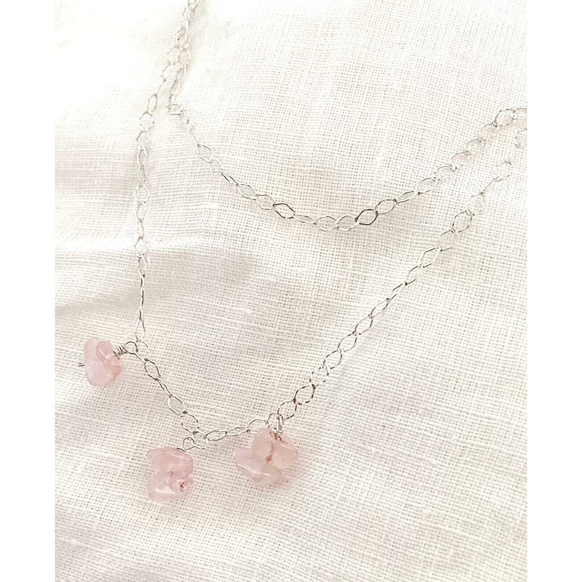 Double silver necklace with rose quartz pendants