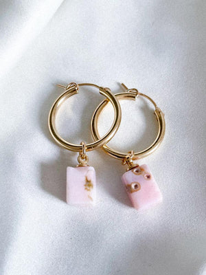 Hoop earrings with gold/silver pink opal stone