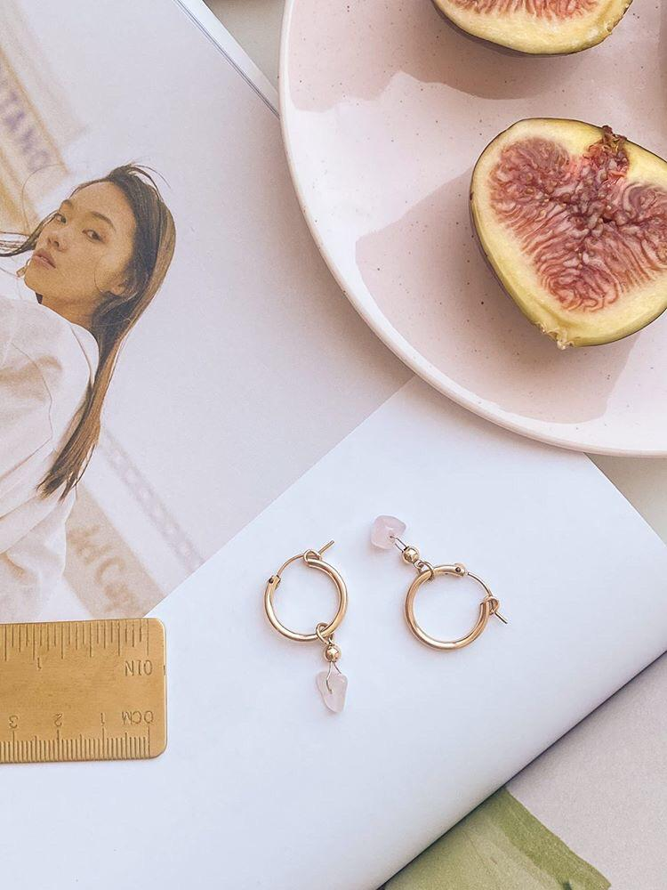 Silver Hoop Earrings/Goldfield with Rose Quartz