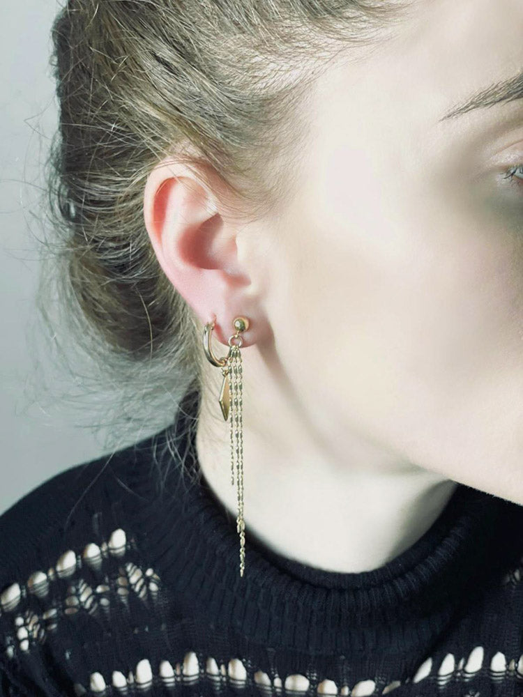 Gold/silver layer earrings