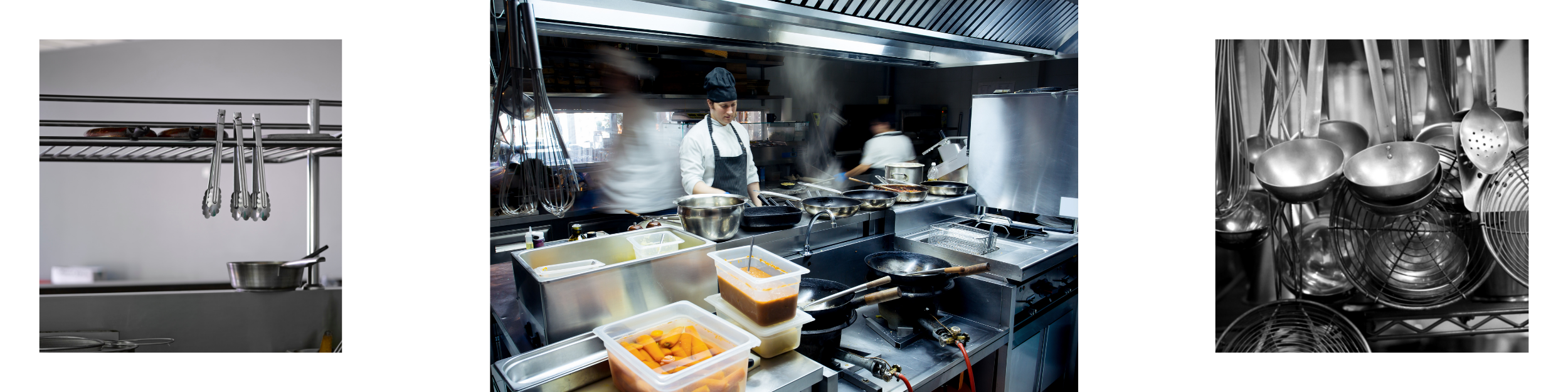 Tongs, frying pans, ladles, skimmers and busy foodservice kitchen