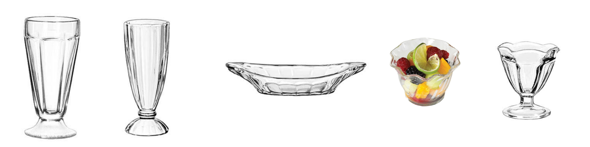 Dessert Dishes and Glass Fountainware