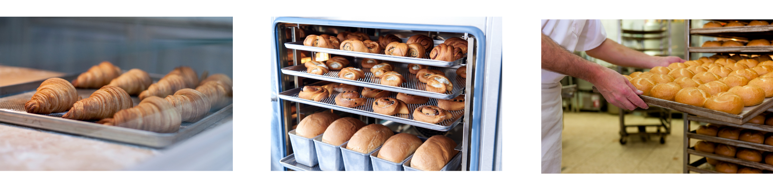 Bun pans and bun pan racks being used in commercial kitchen