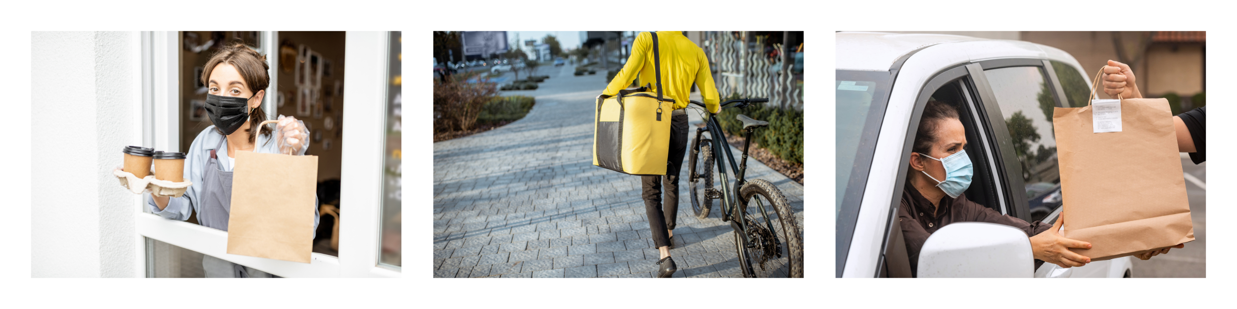 Pick up window, bicycle delivery, curbside pick up