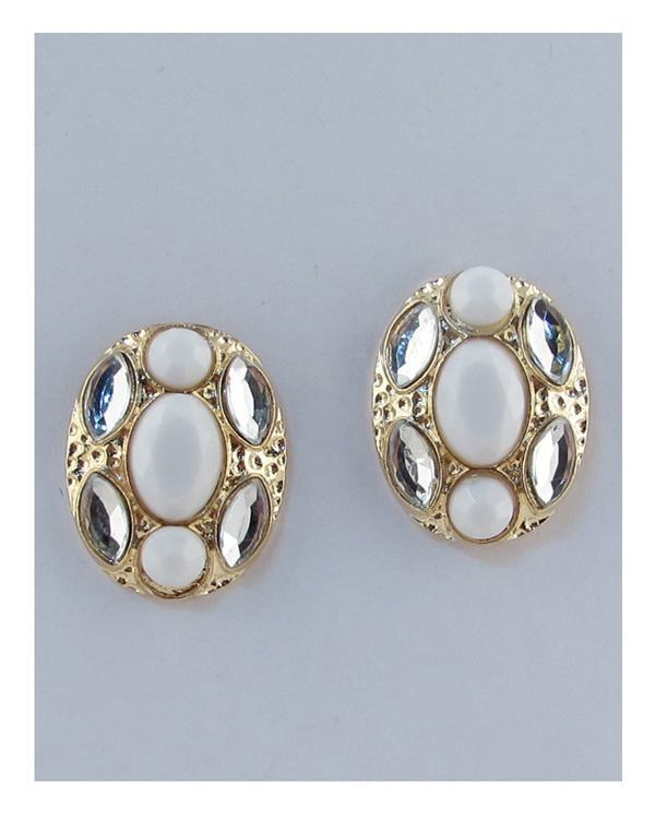 Oval faux stone earrings - CYFASHION