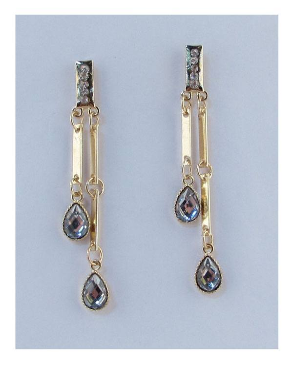 Drop earrings w/rhinestones - CYFASHION