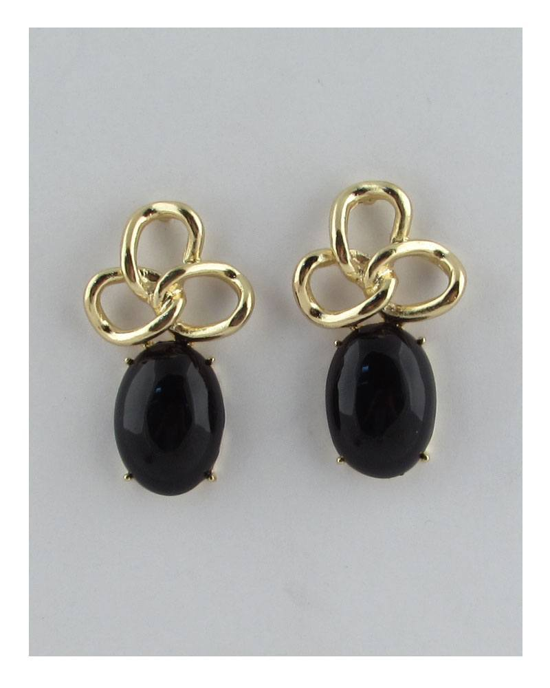 Faux oval gemstone stud earrings - CYFASHION