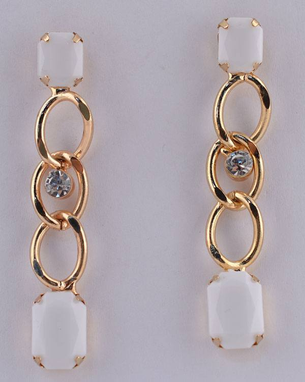 Faux Gemstone Curb Link Rhinestone Dangle Earrings - CYFASHION