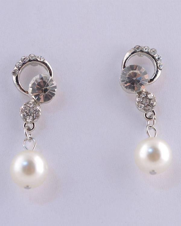 Rhinestone Faux Pearl Dangle Earrings - CYFASHION