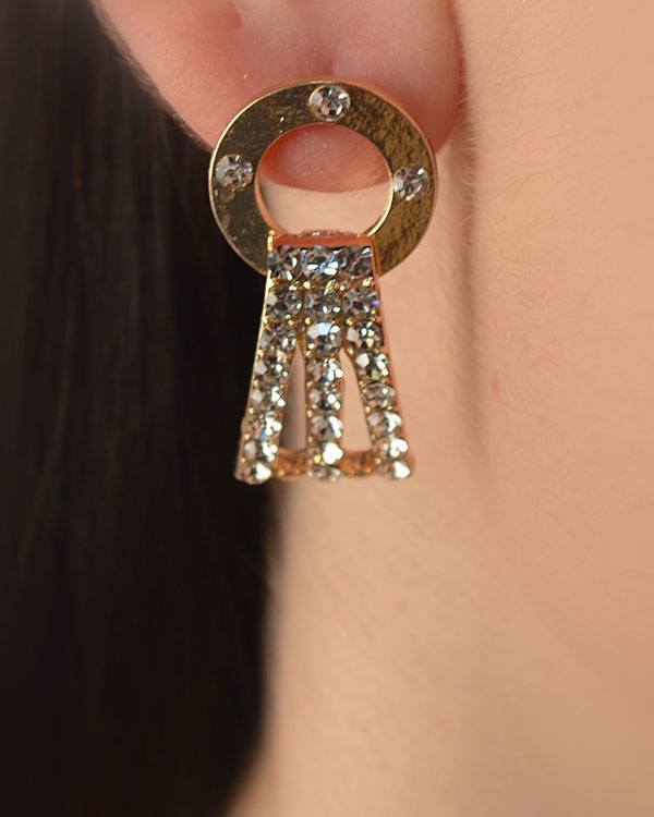 Open Circle Dangle Earrings with Crystal Studded Panel - CYFASHION
