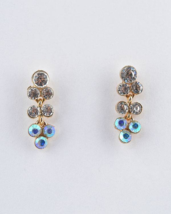 Rhinestone Studded Long Bunch Earrings - CYFASHION