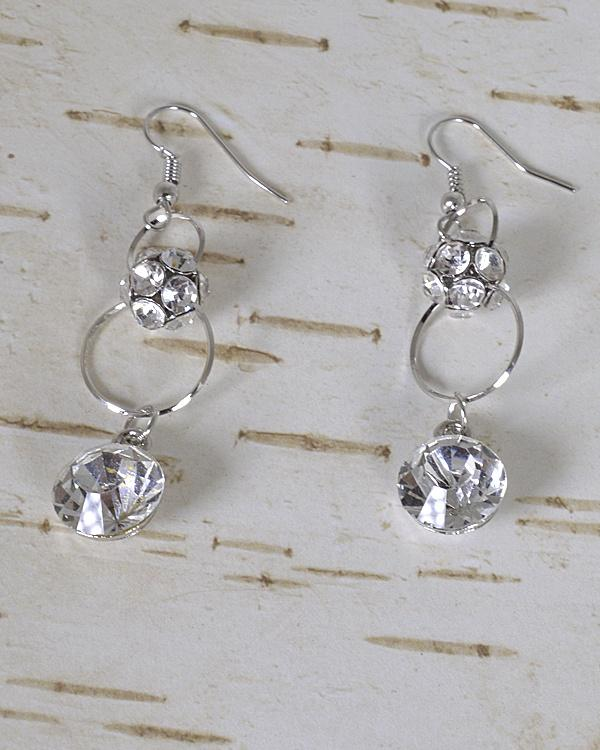 Stone and Crystal Studded Fishhook Drop Earrings id.31483 - CYFASHION