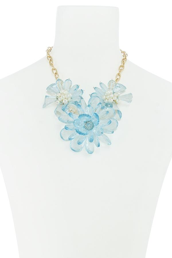 Clustered faux pearl flower statement necklace set - CYFASHION