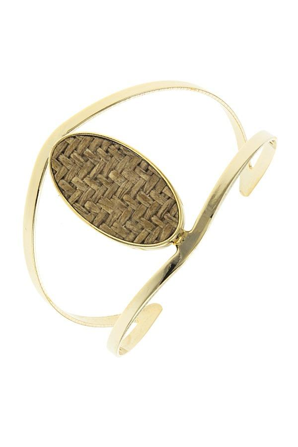 Zig zag patterned oval open cuff bracelet - CYFASHION