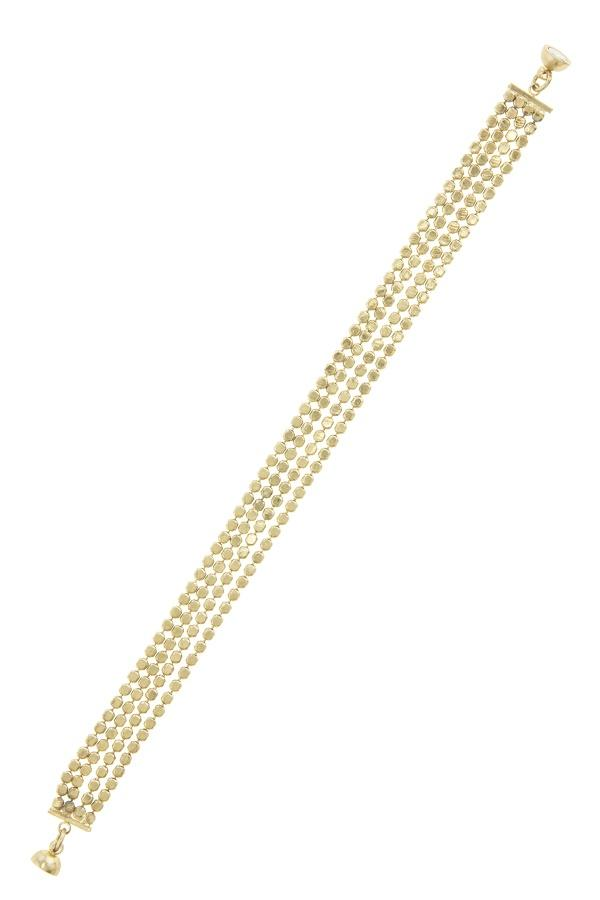 Shiny four row dotted chain bracelet - CYFASHION