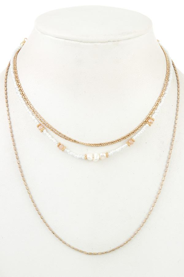 Multi row small bead necklace - CYFASHION